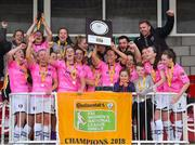7 October 2018; Wexford Youths WFC players celebrate with the trophy following their victory during the Continental Tyres Women's National League Development Shield Final match between Cork City FC and Wexford Youths WFC at Turner's Cross in Cork. Photo by Seb Daly/Sportsfile