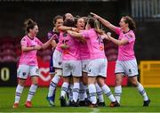 7 October 2018; Wexford Youths WFC players celebrate following their side's victory in a penalty shoot-out during the Continental Tyres Women's National League Development Shield Final match between Cork City FC and Wexford Youths WFC at Turner's Cross in Cork. Photo by Seb Daly/Sportsfile