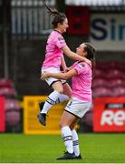 7 October 2018; Aisling Frawley, left, and Orlaith Conlon of Wexford Youths WFC celebrate following their side's victory in a penalty shoot-out during the Continental Tyres Women's National League Development Shield Final match between Cork City FC and Wexford Youths WFC at Turner's Cross in Cork. Photo by Seb Daly/Sportsfile