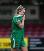 7 October 2018; Saoirse Noonan of Cork City FC reacts after missing a penalty in a penalty shoot-out during the Continental Tyres Women's National League Development Shield Final match between Cork City FC and Wexford Youths WFC at Turner's Cross in Cork. Photo by Seb Daly/Sportsfile