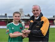 7 October 2018; Éabha O'Mahony of Cork City FC is presented with the Player of the Month award for August by Tom Dennigan of Continental Tyres Group, following the Continental Tyres Women's National League Development Shield Final match between Cork City FC and Wexford Youths WFC at Turner's Cross in Cork. Photo by Seb Daly/Sportsfile
