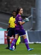 7 October 2018; Sophie Lenehan of Wexford Youths WFC reacts after saving a penalty in a penalty shoot-out during the Continental Tyres Women's National League Development Shield Final match between Cork City FC and Wexford Youths WFC at Turner's Cross in Cork. Photo by Seb Daly/Sportsfile