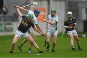 7 October 2018; Oisín Mahon of Kilcormac/Killoughey, supported by team mate Stephen Leonard, right, in action against Cathal Parlon, second from left, and Eoghan Parlon of Coolderry during the Offaly County Senior Club Hurling Championship Final match between Coolderry and Kilcormac/Killoughey at Bord Na Móna O'Connor Park in Tullamore, Co Offaly. Photo by Piaras Ó Mídheach/Sportsfile