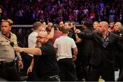 6 October 2018; Scenes in the octagon following the UFC lightweight championship fight between Khabib Nurmagomedov and Conor McGregor during UFC 229 at T-Mobile Arena in Las Vegas, Nevada, USA. Photo by Stephen McCarthy/Sportsfile