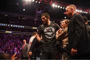 6 October 2018; Islam Makhachev is restrained after the UFC lightweight championship fight between Khabib Nurmagomedov and Conor McGregor during UFC 229 at T-Mobile Arena in Las Vegas, Nevada, USA. Photo by Stephen McCarthy/Sportsfile