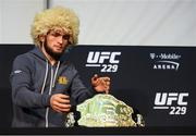6 October 2018; Khabib Nurmagomedov during the post fight press conference following his victory over Conor McGregor in their UFC lightweight championship fight during UFC 229 at T-Mobile Arena in Las Vegas, Nevada, USA. Photo by Stephen McCarthy/Sportsfile