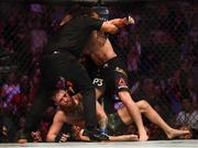 6 October 2018; Referee Herb Dean stops the UFC lightweight championship fight between Khabib Nurmagomedov, right, and Conor McGregor during UFC 229 at T-Mobile Arena in Las Vegas, Nevada, USA. Photo by Stephen McCarthy/Sportsfile
