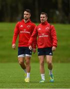 8 October 2018; Conor Murray and JJ Hanrahan arrive for Munster Rugby squad training at the University of Limerick in Limerick. Photo by Diarmuid Greene/Sportsfile
