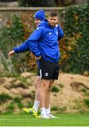 8 October 2018; Jonathan Sexton, left, and Ross Byrne during Leinster Rugby squad training at UCD in Dublin. Photo by Ramsey Cardy/Sportsfile