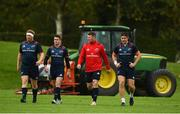 8 October 2018; Stephen Archer, Ronan O'Mahony, Peter O'Mahony, and Billy Holland arrive for Munster Rugby squad training at the University of Limerick in Limerick. Photo by Diarmuid Greene/Sportsfile