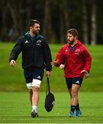 8 October 2018; Jean Kleyn and Rhys Marshall arrive for Munster Rugby squad training at the University of Limerick in Limerick. Photo by Diarmuid Greene/Sportsfile