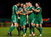 8 October 2018; Karl Sheppard of Cork City, centre, is congratulated by team-mates after scoring his side's second goal during the Irish Daily Mail FAI Cup Semi-Final Replay match between Cork City and Bohemians at Turner's Cross in Cork. Photo by Seb Daly/Sportsfile