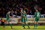 8 October 2018; Karl Sheppard of Cork City celebrates after scoring his side's second goal with team-mate Alan Bennett, centre, Garry Buckley, left, and Sean McLoughlin, right, during the Irish Daily Mail FAI Cup Semi-Final Replay match between Cork City and Bohemians at Turner's Cross in Cork. Photo by Harry Murphy/Sportsfile