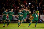 8 October 2018; Karl Sheppard of Cork City celebrates after scoring his side's second goal with team-mates during the Irish Daily Mail FAI Cup Semi-Final Replay match between Cork City and Bohemians at Turner's Cross in Cork. Photo by Harry Murphy/Sportsfile