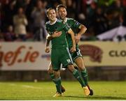 8 October 2018; Karl Sheppard of Cork City celebrates after scoring his side's second goal with team-mate Alan Bennett during the Irish Daily Mail FAI Cup Semi-Final Replay match between Cork City and Bohemians at Turner's Cross in Cork. Photo by Harry Murphy/Sportsfile
