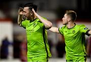 8 October 2018; Seán Brennan of Drogheda United, left, celebrates scoring his side's first goal with team mate Conor Kane during the SSE Airtricity League Promotion / Relegation Play-off Series 2nd leg match between Shelbourne and Drogheda United at Tolka Park in Dublin. Photo by Piaras Ó Mídheach/Sportsfile