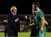 8 October 2018; Cork City manager John Caulfield, left, with Conor McCormack, centre, and Alan Bennett following their side's victory during the Irish Daily Mail FAI Cup Semi-Final Replay match between Cork City and Bohemians at Turner's Cross in Cork. Photo by Seb Daly/Sportsfile