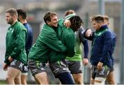 9 October 2018; Jack Carty, left, and Niyi Adeolokun during Connacht Rugby squad training at The Sportsground in Galway. Photo by Sam Barnes/Sportsfile