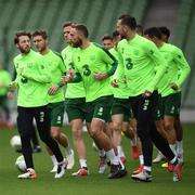 9 October 2018; Harry Arter, left, with team-mates during a Republic of Ireland training session at the Aviva Stadium in Dublin. Photo by Stephen McCarthy/Sportsfile