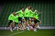 9 October 2018; Ciaran Clark, centre, with team-mates during a Republic of Ireland training session at the Aviva Stadium in Dublin. Photo by Stephen McCarthy/Sportsfile