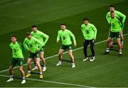9 October 2018; Republic of Ireland players, from left, Jeff Hendrick, Aiden O'Brien, Alan Browne, Sean Maguire, Harry Arter, Richard Keogh and Darragh Lenihan during a Republic of Ireland training session at the Aviva Stadium in Dublin. Photo by Seb Daly/Sportsfile