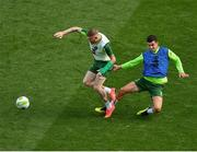 9 October 2018; James McClean, left, and John Egan during a Republic of Ireland training session at the Aviva Stadium in Dublin. Photo by Seb Daly/Sportsfile