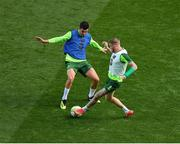 9 October 2018; John Egan, left, and James McClean during a Republic of Ireland training session at the Aviva Stadium in Dublin. Photo by Seb Daly/Sportsfile