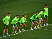 9 October 2018; Republic of Ireland players, from left, Ciaran Clark, Scott Hogan, Callum Robinson, Jeff Hendrick, Aiden O'Brien and Conor Hourihane during a Republic of Ireland training session at the Aviva Stadium in Dublin. Photo by Seb Daly/Sportsfile