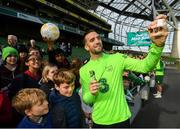 9 October 2018; Shane Duffy with supporters following a Republic of Ireland training session at the Aviva Stadium in Dublin. Photo by Stephen McCarthy/Sportsfile