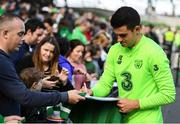 9 October 2018; John Egan with supporters following a Republic of Ireland training session at the Aviva Stadium in Dublin. Photo by Stephen McCarthy/Sportsfile