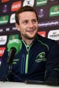 9 October 2018; Jack Carty speaking during a Connacht Rugby press conference at The Sportsground in Galway. Photo by Sam Barnes/Sportsfile