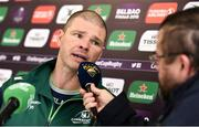 9 October 2018; Connacht defence coach Peter Wilkins speaking during a Connacht Rugby press conference at The Sportsground in Galway. Photo by Sam Barnes/Sportsfile
