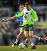 9 October 2018; Darragh Lenihan and Shaun Williams, left, during a Republic of Ireland training session at the Aviva Stadium in Dublin. Photo by Stephen McCarthy/Sportsfile