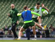 9 October 2018; Republic of Ireland manager Martin O'Neill watches on as Ciaran Clark is tackled by Aiden O'Brien during a training session at the Aviva Stadium in Dublin. Photo by Stephen McCarthy/Sportsfile