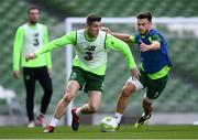 9 October 2018; Darragh Lenihan and Scott Hogan, right, during a Republic of Ireland training session at the Aviva Stadium in Dublin. Photo by Stephen McCarthy/Sportsfile