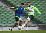 9 October 2018; Scott Hogan, left, and Matt Doherty during a Republic of Ireland training session at the Aviva Stadium in Dublin. Photo by Stephen McCarthy/Sportsfile
