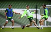 9 October 2018; Darragh Lenihan, centre, with Harry Arter, right, and Scott Hogan during a Republic of Ireland training session at the Aviva Stadium in Dublin. Photo by Stephen McCarthy/Sportsfile