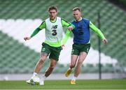 9 October 2018; Jeff Hendrick and Aiden O'Brien, right, during a Republic of Ireland training session at the Aviva Stadium in Dublin. Photo by Stephen McCarthy/Sportsfile