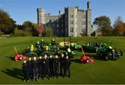 11 October 2018; Killeen Castle Golf Club in County Meath is celebrating it's 10th Anniversary in 2019 as well as it's recent investment in a state of the art fleet deal with John Deere and local dealer Dublin Grass Machinery over €500,000. In attendance alongside the new machinery are, from left, Mark Donnelly, Mark Collins, Course Superintendant, Nathan Pleavin, Michael Meegan, James Morgan, Robert Kane, Justin Mulvaney, Frances Clynch and Brian Mooney on the 18th hole at Killeen Castle Golf Club, Co. Meath. Photo by David Fitzgerald/Sportsfile