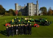 11 October 2018; Killeen Castle Golf Club in County Meath is celebrating it's 10th Anniversary in 2019 as well as it's recent investment in a state of the art fleet deal with John Deere and local dealer Dublin Grass Machinery over €500,000. In attendance alongside the new machinery are, from left, Mark Donnelly, Mark Collins, Course Superintendant, Nathan Pleavin, Michael Meegan, Robert Mitchell from Dublin Grass Machinery, James Morgan, Noel Bennett from Dublin Grass Machinery, Robert Kane, Justin Mulvaney, Frances Clynch and Brian Mooney on the 18th hole at Killeen Castle Golf Club, Co. Meath. Photo by David Fitzgerald/Sportsfile