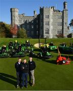 11 October 2018; Killeen Castle Golf Club in County Meath is celebrating it's 10th Anniversary in 2019 as well as it's recent investment in a state of the art fleet deal with John Deere and local dealer Dublin Grass Machinery over €500,000. In attendance alongside the new machinery are, from left, Robert Mitchell from Dublin Grass Machinery, Mark Collins, Course Superintendant and Noel Bennett from Dublin Grass Machinery on the 18th hole at Killeen Castle Golf Club, Co. Meath. Photo by David Fitzgerald/Sportsfile