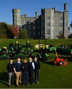 11 October 2018; Killeen Castle Golf Club in County Meath is celebrating it's 10th Anniversary in 2019 as well as it's recent investment in a state of the art fleet deal with John Deere and local dealer Dublin Grass Machinery over €500,000. In attendance alongside the new machinery are, from left, Robert Mitchell from Dublin Grass Machinery, David Leech, Mark Collins, Course Superintendant, Cormac Ryan and Noel Bennett from Dublin Grass Machinery on the 18th hole at Killeen Castle Golf Club, Co. Meath. Photo by David Fitzgerald/Sportsfile