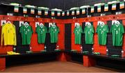 10 October 2018; A general view of the dressing room prior to the UEFA U19 European Championship Qualifying match between Bosnia & Herzegovina and Republic of Ireland at the City Calling Stadium in Longford. Photo by Seb Daly/Sportsfile