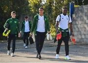 10 October 2018; Adam Idah, left, and Jonathan Afolabi of Republic of Ireland arrive prior to the UEFA U19 European Championship Qualifying match between Bosnia & Herzegovina and Republic of Ireland at the City Calling Stadium in Longford. Photo by Seb Daly/Sportsfile