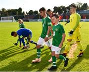 10 October 2018; Republic of Ireland captain Lee O'Connor leads his side out prior to the UEFA U19 European Championship Qualifying match between Bosnia & Herzegovina and Republic of Ireland at the City Calling Stadium in Longford. Photo by Seb Daly/Sportsfile