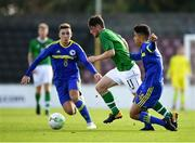 10 October 2018; William Ferry of Republic of Ireland in action against Stefan Santrac, left, and Jusuf Gazibegovic of Bosnia and Herzegovina during the UEFA U19 European Championship Qualifying match between Bosnia & Herzegovina and Republic of Ireland at the City Calling Stadium in Longford. Photo by Seb Daly/Sportsfile