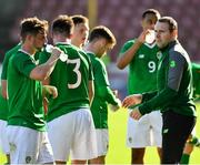 10 October 2018; Republic of Ireland manager Tom Mohan talks to his players during the UEFA U19 European Championship Qualifying match between Bosnia & Herzegovina and Republic of Ireland at the City Calling Stadium in Longford. Photo by Seb Daly/Sportsfile