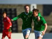10 October 2018; William Ferry of Republic of Ireland, right, celebrates with team-mate Glen McAuley, after scoring his side's first goal during the UEFA U19 European Championship Qualifying match between Bosnia & Herzegovina and Republic of Ireland at the City Calling Stadium in Longford. Photo by Seb Daly/Sportsfile