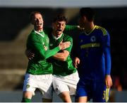 10 October 2018; William Ferry of Republic of Ireland, centre, celebrates with team-mate Glen McAuley, left, scoring his side's first goal during the UEFA U19 European Championship Qualifying match between Bosnia & Herzegovina and Republic of Ireland at the City Calling Stadium in Longford. Photo by Seb Daly/Sportsfile