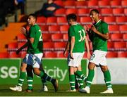 10 October 2018; Adam Idah of Republic of Ireland, right, celebrates after scoring his side's third goal during the UEFA U19 European Championship Qualifying match between Bosnia & Herzegovina and Republic of Ireland at the City Calling Stadium in Longford. Photo by Seb Daly/Sportsfile